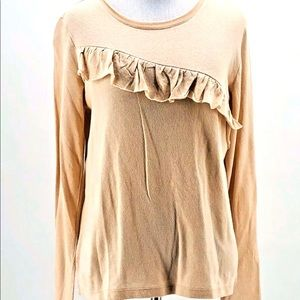NWT Lucky Brand Peach Ruffled Chest Blouse Size M